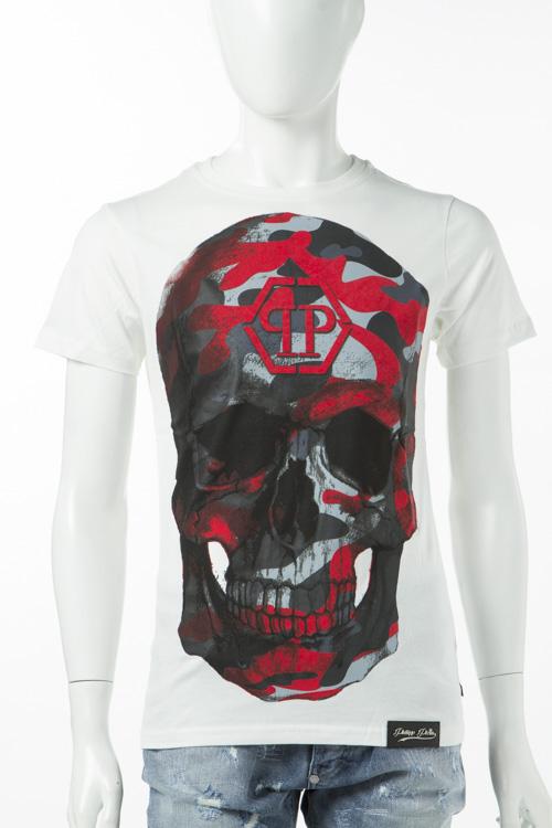 フィリッププレイン PHILIPP PLEIN Tシャツ 半袖 丸首 メンズ S17C MTK0083 ホワイト 送料無料 楽ギフ_包装 10%OFFクーポンプレゼント