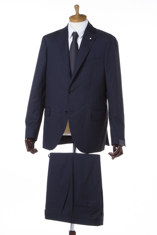 【期間限定10%OFFクーポン配布】ラルディーニ LARDINI スーツ 2つボタン サイドベンツ シングル ブートニエール メンズ IC850AQ 47413 ネイビー 送料無料 10%OFFクーポンプレゼント 【ラッキーシール対応】
