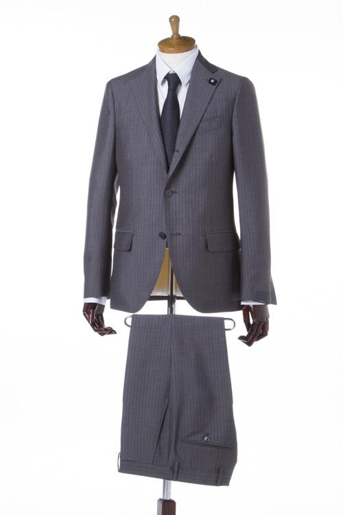 【期間限定10%OFFクーポン配布】ラルディーニ LARDINI スーツ 3つボタン サイドベンツ シングル PPA38809 ブートニエール メンズ EC485AQ 38809 グレー 送料無料 10%OFFクーポンプレゼント 【ラッキーシール対応】