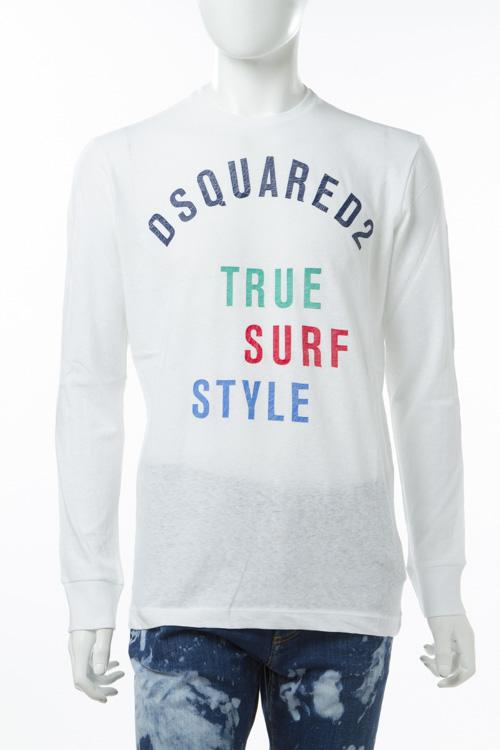 ディースクエアード DSQUARED2 ロングTシャツ ロンT 長袖 丸首 メンズ S74GD0228S22507 ホワイト 送料無料 楽ギフ_包装 10%OFFクーポンプレゼント