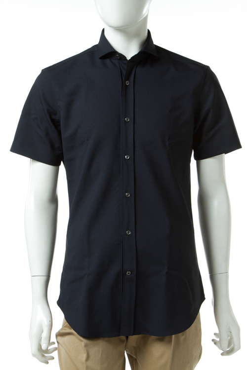 ヴァンガー VANGHER シャツ 半袖 無地 メンズ 568B 699 ネイビー 送料無料 楽ギフ_包装 10%OFFクーポンプレゼント