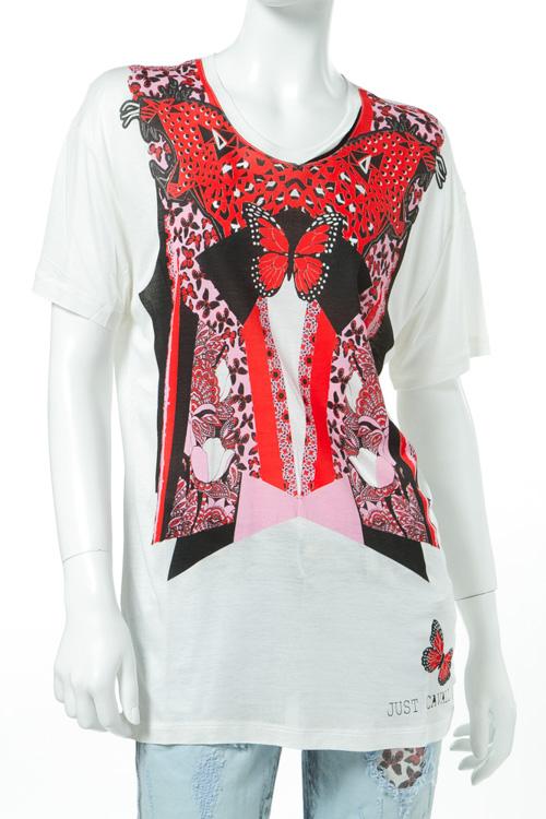 ジャストカヴァリ ジャストカバリ JUST CAVALLI Tシャツ 半袖 丸首 レディース GC0054 20825 ホワイト 送料無料 楽ギフ_包装 10%OFFクーポンプレゼント