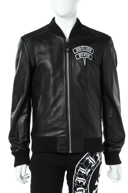 フィリッププレイン PHILIPP PLEIN レザーブルゾン レザージャケット 革ジャン メンズ F17C MLB0182 ブラック 送料無料 10%OFFクーポンプレゼント