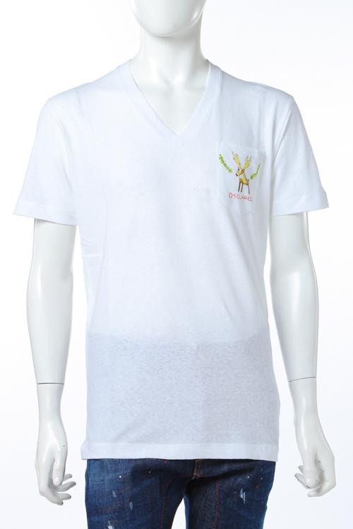 ディースクエアード DSQUARED2 Tシャツ 半袖 Vネック メンズ S74GD0249S22507 ホワイト 送料無料 楽ギフ_包装 10%OFFクーポンプレゼント