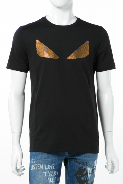 フェンディー FENDI Tシャツ 半袖 丸首 メンズ FY0682 1JJ ブラック 送料無料 楽ギフ_包装 10%OFF クーポンプレゼント