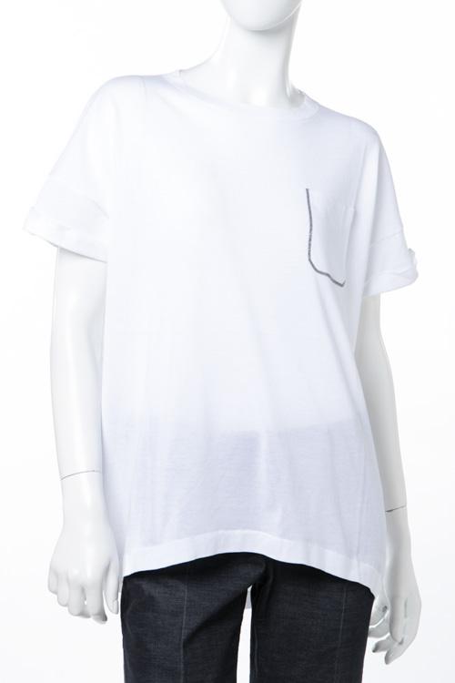ブルネロクチネリ BRUNELLO CUCINELLI Tシャツ 半袖 丸首 レディース M8Z833600 ホワイト 送料無料 楽ギフ_包装 10%OFFクーポンプレゼント 【ラッキーシール対応】