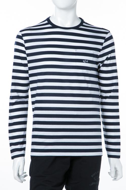 ポールアンドシャーク PAUL&SHARK ロングTシャツ ロンT 長袖 丸首 メンズ P18P1517SF ホワイト×ネイビー 送料無料 楽ギフ_包装 10%OFFクーポンプレゼント