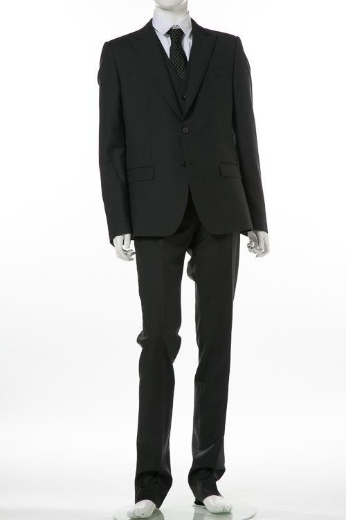 ドルチェ&ガッバーナ ドルガバ DOLCE&GABBANA 3ピーススーツ シングル メンズ G1UOMT FU2SK ダークグレイ 送料無料 10%OFFクーポンプレゼント 【ラッキーシール対応】