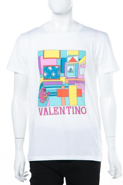 【期間限定10%OFFクーポン配布】ヴァレンティノ Valentino Tシャツ 半袖 丸首 メンズ PV3MG10U3LE ホワイト 送料無料 楽ギフ_包装 10%OFFクーポンプレゼント 2018年春夏新作 2018SS_SALE 【ラッキーシール対応】