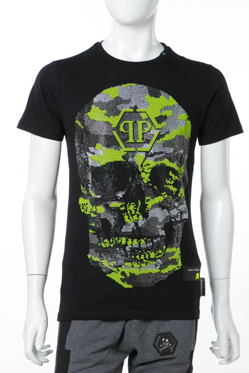 フィリッププレイン PHILIPP PLEIN Tシャツ 半袖 丸首 PJY002N 0209 メンズ S18C MTK1895 ブラック×イエロー 送料無料 楽ギフ_包装 10%OFFクーポンプレゼント