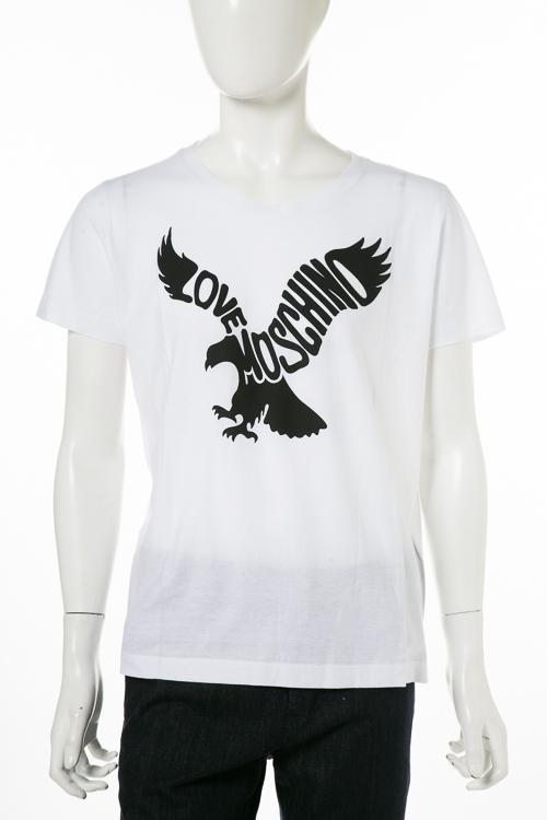 【期間限定10%OFFクーポン配布】ラブモスキーノ LOVE MOSCHINO Tシャツ 半袖 丸首 メンズ M473905 M3727 ホワイト 送料無料 楽ギフ_包装 10%OFFクーポンプレゼント 【ラッキーシール対応】
