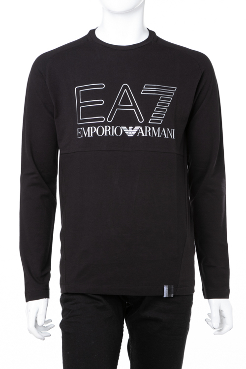 エンポリオ アルマーニ Emporio Armani EA7 ロングTシャツ ロンT 長袖 クルーネック メンズ 6ZPT05 PJ04Z ブラック 送料無料 ラッキーシール対応