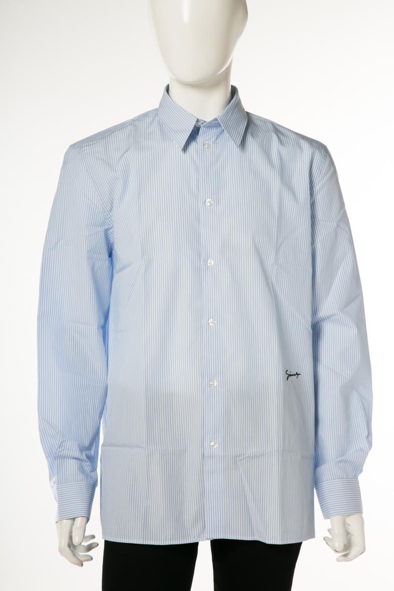 ジバンシー ジバンシィ GIVENCHY シャツ ストライプシャツ 長袖 458 メンズ BM607Q1Y5G ブルー 送料無料 楽ギフ_包装 10%OFFクーポンプレゼント 2019年春夏新作