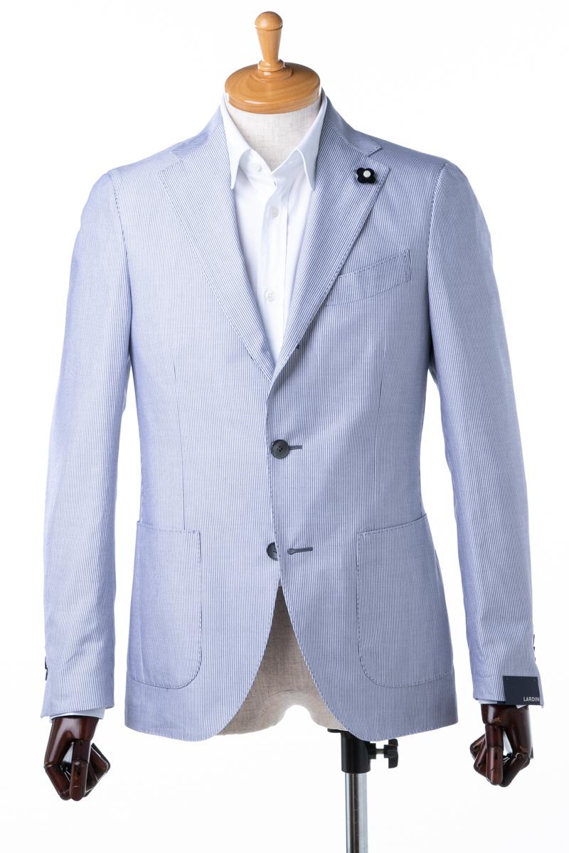 ラルディーニ LARDINI テーラードジャケット シングル 02 メンズ EG0557AE CL1805 ホワイト×ブルー 送料無料 アウトレット 10%OFFクーポンプレゼント 2004値下げ