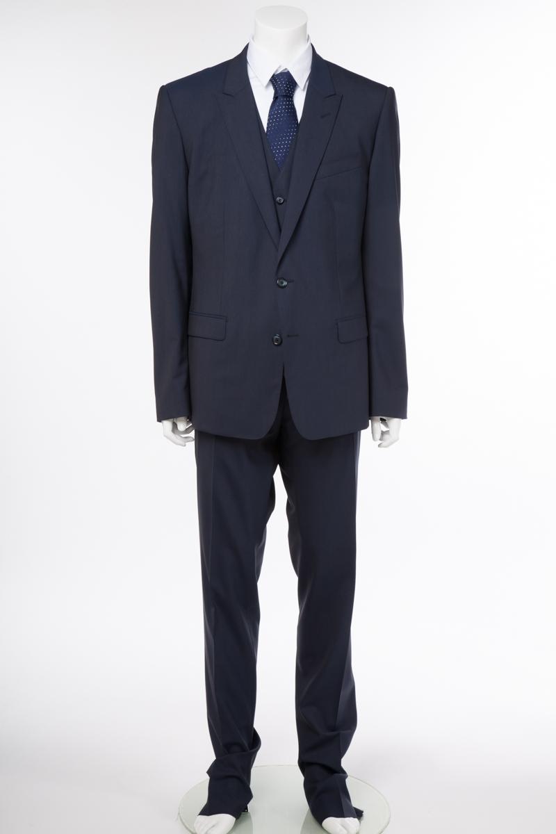 ドルチェ&ガッバーナ ドルガバ DOLCE&GABBANA 3ピーススーツ 2つボタン シングル MARTINI メンズ G1XMMT FUBBG ネイビー 送料無料 10%OFFクーポンプレゼント