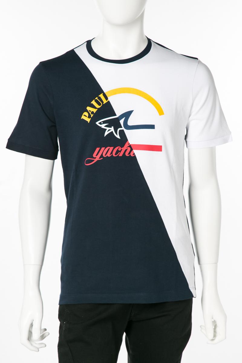 ポールアンドシャーク PAUL&SHARK Tシャツ 半袖 丸首 クルーネック 013 メンズ E19P1087 ホワイト×ネイビー 送料無料 楽ギフ_包装 2019年春夏新作 10%OFFクーポンプレゼント 2019SS_SALE