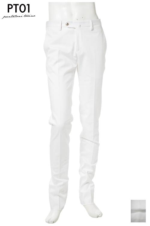 PT01 ピーティーゼロウーノ パンツ スラックス メンズ RIDS01Z VC39 ホワイト 送料無料 楽ギフ_包装 10%OFFクーポンプレゼント 【ラッキーシール対応】