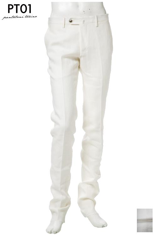 PT01 ピーティーゼロウーノ パンツ スラックス メンズ RIDS01Z SA77 ホワイト 送料無料 楽ギフ_包装 10%OFFクーポンプレゼント 【ラッキーシール対応】