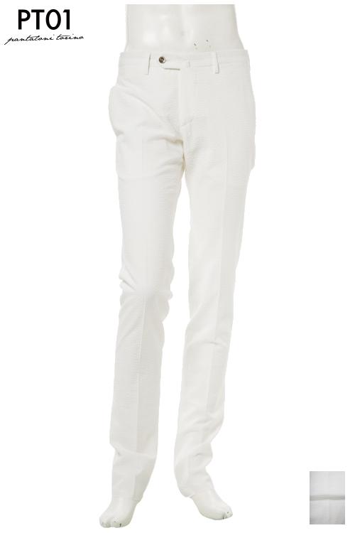 PT01 ピーティーゼロウーノ パンツ スラックス メンズ RIDS01Z BS08 ホワイト 送料無料 楽ギフ_包装 10%OFFクーポンプレゼント 【ラッキーシール対応】