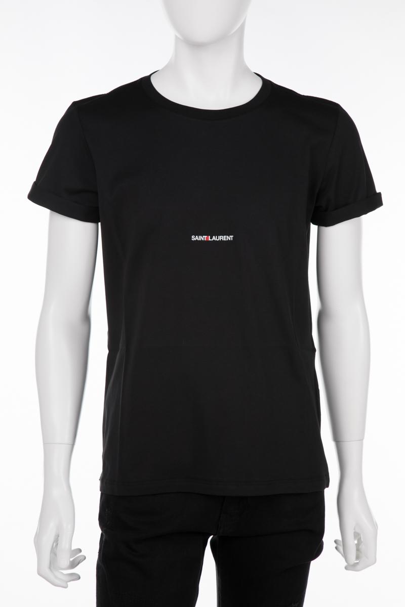 サンローランパリ SAINT LAURENT PARIS Tシャツ 半袖 丸首 クルーネック メンズ 464572 YB2DQ ブラック 送料無料 楽ギフ_包装 10%OFFクーポンプレゼント 2019年春夏新作 【ラッキーシール対応】