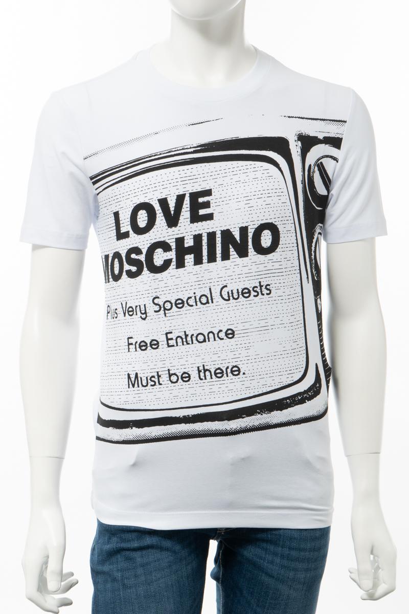 【全品10%OFFクーポン配布中!】ラブモスキーノ LOVE MOSCHINO Tシャツ 半袖 丸首 クルーネック メンズ M47311D E1811 ホワイト 送料無料 楽ギフ_包装 10%OFFクーポンプレゼント