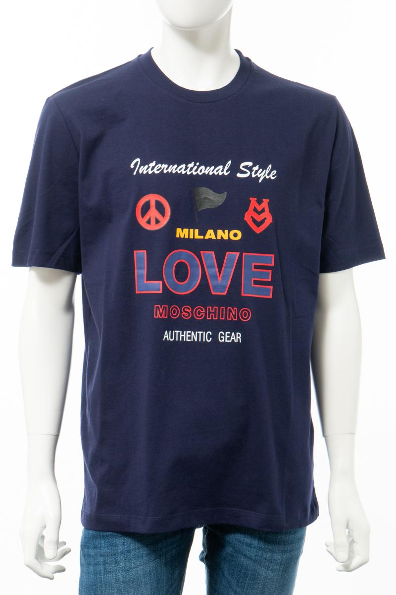 【全品10%OFFクーポン配布中!】ラブモスキーノ LOVE MOSCHINO Tシャツ 半袖 丸首 クルーネック メンズ M47322F M3876 ネイビー 送料無料 楽ギフ_包装 10%OFFクーポンプレゼント