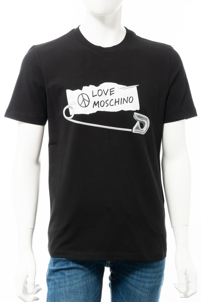 【6/1 0:00~6/3 9:59まで ポイント5倍】ラブモスキーノ LOVE MOSCHINO Tシャツ 半袖 丸首 クルーネック メンズ M47311C E1811 ブラック 送料無料 楽ギフ_包装 10%OFFクーポンプレゼント