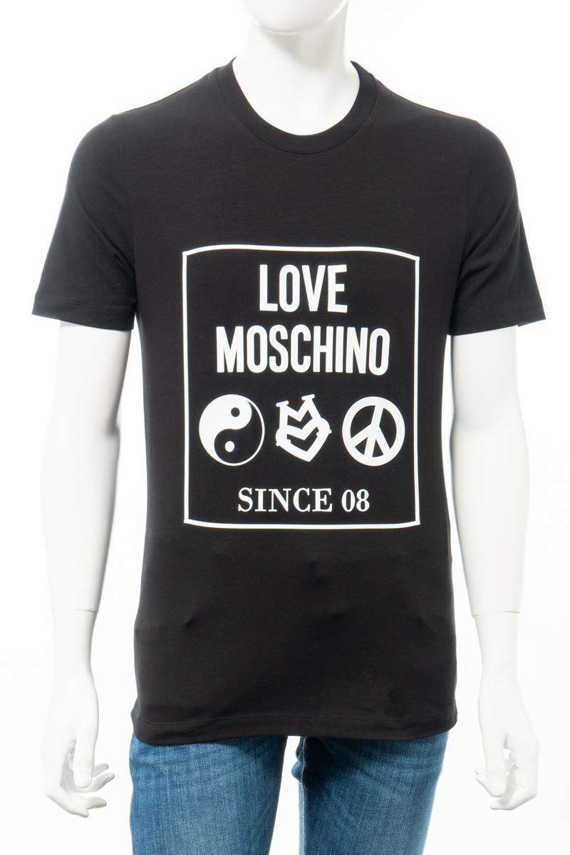 【全品10%OFFクーポン配布中!】ラブモスキーノ LOVE MOSCHINO Tシャツ 半袖 丸首 クルーネック メンズ M47311Q E1811 ブラック 送料無料 楽ギフ_包装 10%OFFクーポンプレゼント