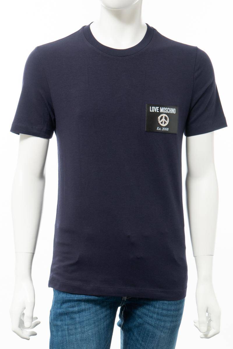 【全品10%OFFクーポン配布中!】ラブモスキーノ LOVE MOSCHINO Tシャツ 半袖 丸首 クルーネック メンズ M473185 E1811 ネイビー 送料無料 楽ギフ_包装 10%OFFクーポンプレゼント