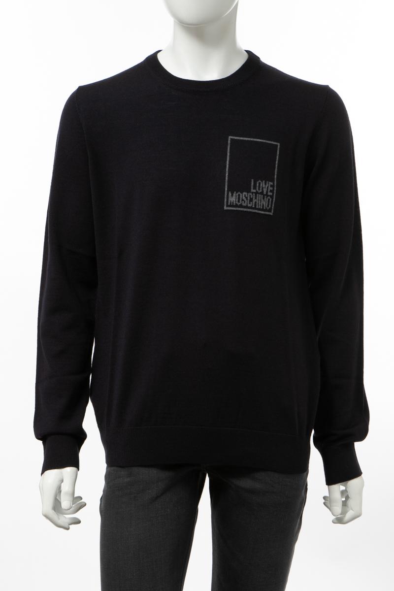 【全品10%OFFクーポン配布中!】ラブモスキーノ LOVE MOSCHINO セーター ニット 丸首 クルーネック メンズ(MSG01010 X0377)ネイビー 送料無料 楽ギフ_包装 10%OFFクーポンプレゼント
