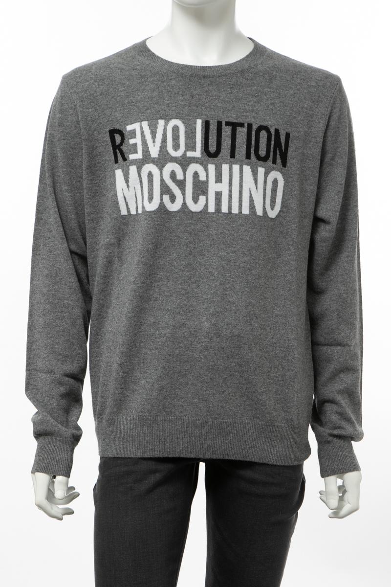 【全品10%OFFクーポン配布中!】ラブモスキーノ LOVE MOSCHINO セーター ニット 丸首 クルーネック メンズ(MSG0610 X0683)グレー 送料無料 楽ギフ_包装 10%OFFクーポンプレゼント