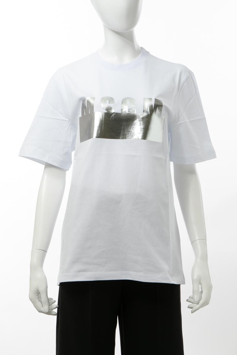 【全品10%OFFクーポン配布中!】エムエスジーエム MSGM Tシャツ 半袖 丸首 クルーネック レディース 841MDM180207298 ホワイト 送料無料 楽ギフ_包装 10%OFFクーポンプレゼント 2020年春夏新作