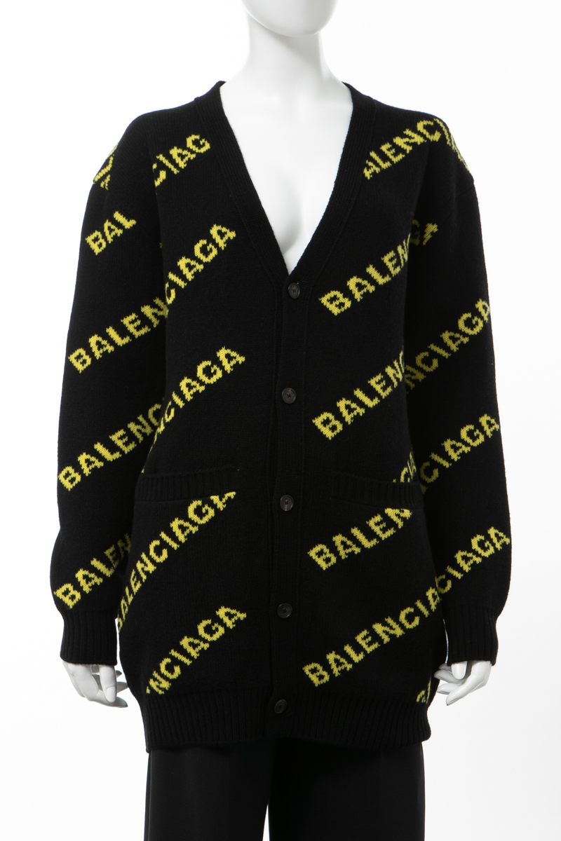 【スーパーSALE 全品10%OFFクーポン配布中】バレンシアガ BALENCIAGA セーター ニット カーディガン オーバーサイズ レディース 555280 T1473 ブラック×イエロー 送料無料 楽ギフ_包装 10%OFFクーポンプレゼント 2020年春夏新作