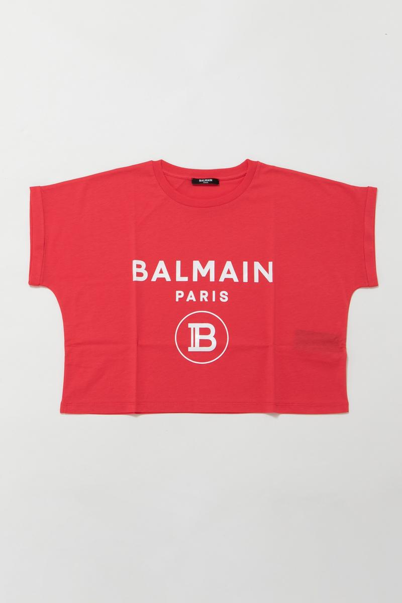 【全品10%OFFクーポン配布中!】バルマン BALMAIN Tシャツ 半袖 丸首 クルーネック レディース TF11357 I381 レッド 送料無料 楽ギフ_包装 10%OFFクーポンプレゼント 2020年春夏新作