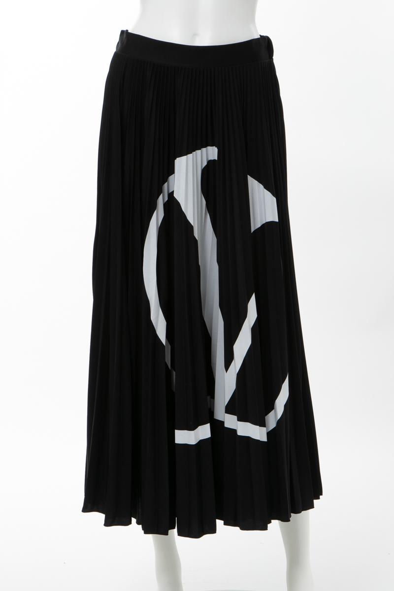 【スーパーSALE 全品10%OFFクーポン配布中】ヴァレンティノ Valentino スカート プリーツスカート レディース TB3MD00Y4TJ ブラック×ホワイト 送料無料 楽ギフ_包装 2020年春夏新作 10%OFFクーポンプレゼント