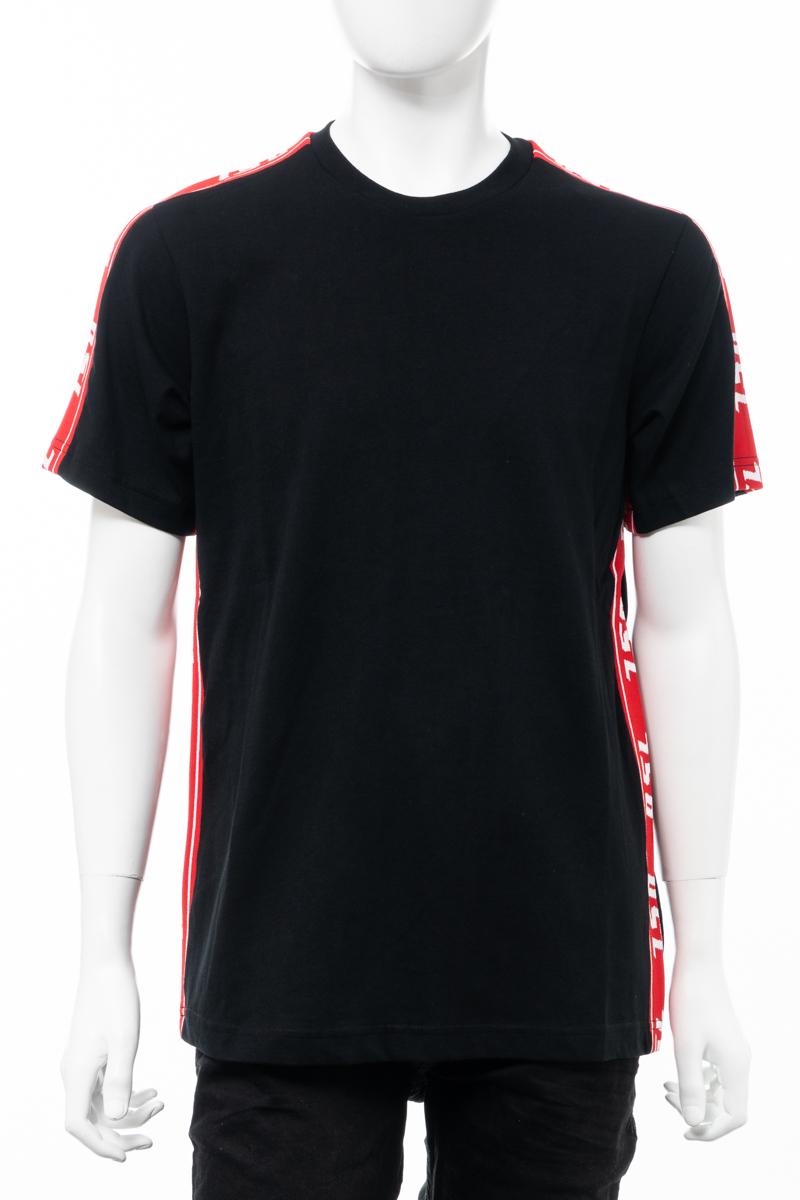 【全品10%OFFクーポン配布中!】ディーゼル DIESEL Tシャツ 半袖 丸首 クルーネック T-JUST-RACE MAGLIETTA メンズ 00SMB2 0QAUL ブラック 送料無料 楽ギフ_包装 10%OFFクーポンプレゼント
