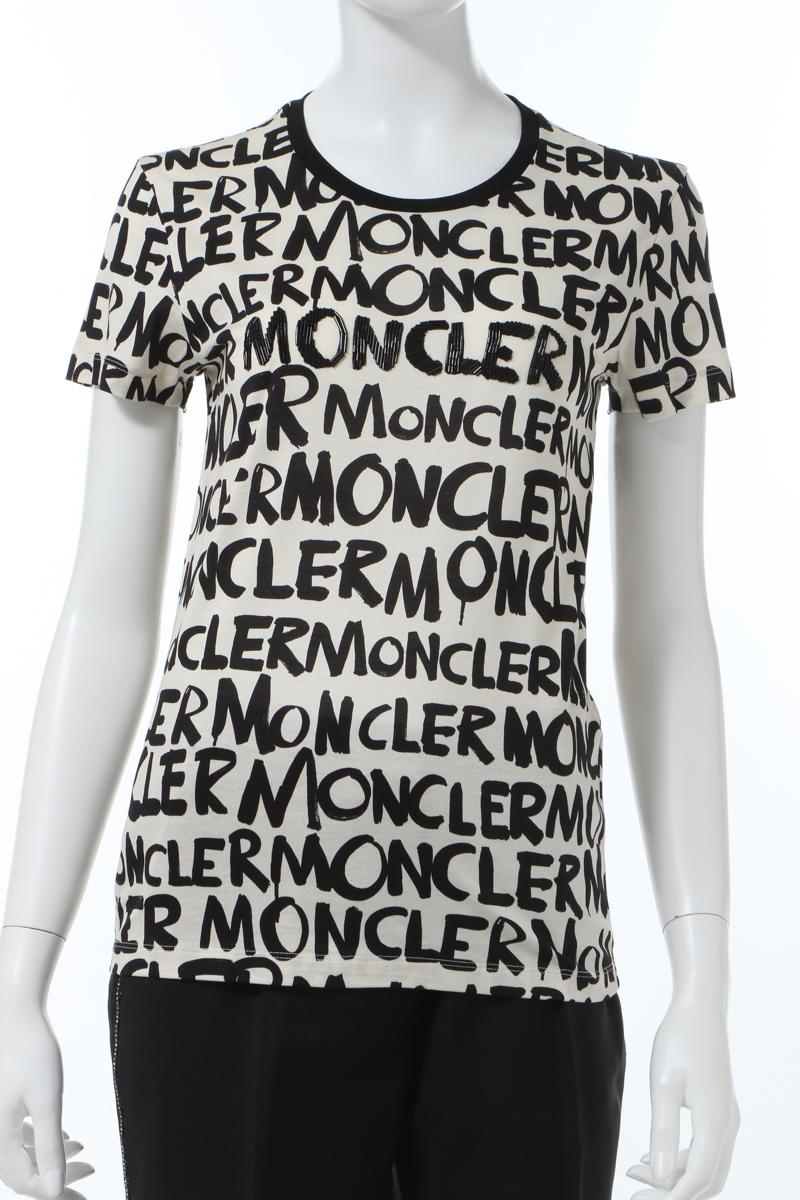 【スーパーSALE 全品10%OFFクーポン配布中】モンクレール MONCLER Tシャツ 半袖 丸首 クルーネック レディース 8051950 829E6 アイボリー 送料無料 楽ギフ_包装 10%OFFクーポンプレゼント