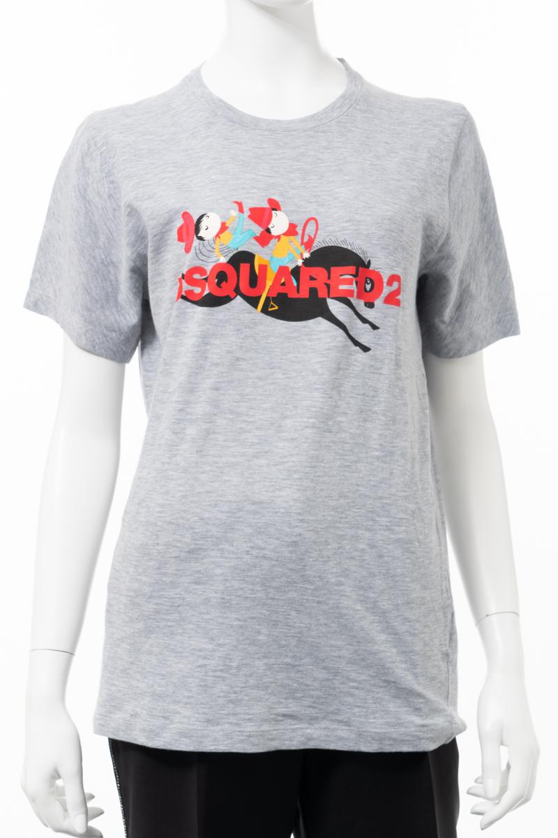 【スーパーSALE 全品10%OFFクーポン配布中】ディースクエアード DSQUARED2 Tシャツ 半袖 丸首 クルーネック レディース S72GD0110S22146 グレー 送料無料 楽ギフ_包装 10%OFFクーポンプレゼント