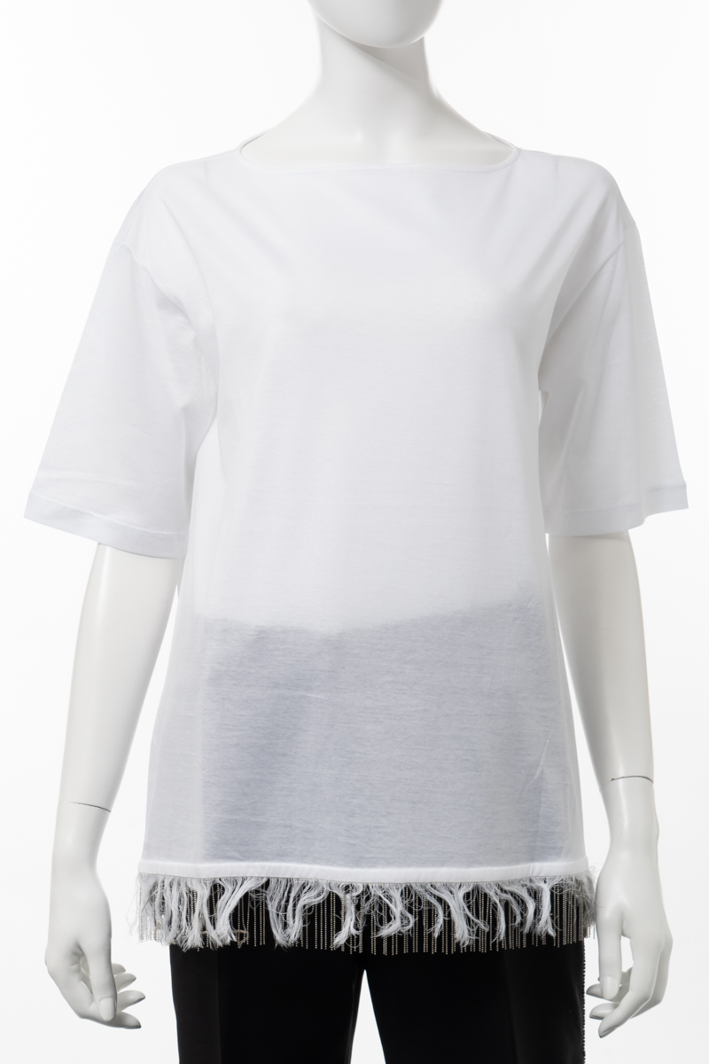 【スーパーSALE 全品10%OFFクーポン配布中】ファビアナ フィリッピ FABIANA FILIPPI Tシャツ 半袖 丸首 クルーネック レディース JE41219 H420 ホワイト 送料無料 楽ギフ_包装 10%OFFクーポンプレゼント
