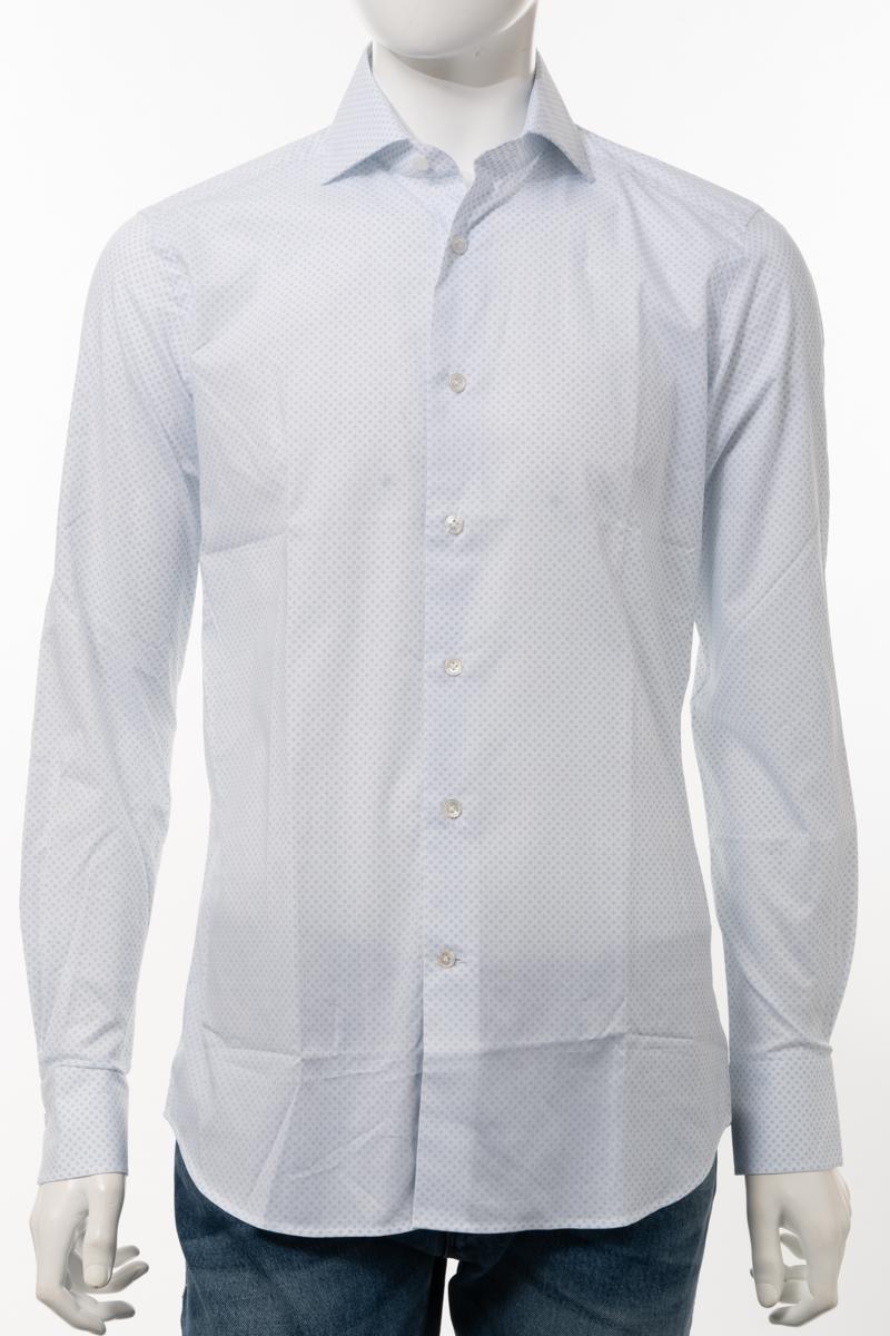 【全品10%OFFクーポン配布中!】バグッタ BAGUTTA シャツ カッターシャツ ワイシャツ 長袖 メンズ 342EBLZ 09266 ホワイト×ブルー 送料無料 楽ギフ_包装 10%OFFクーポンプレゼント
