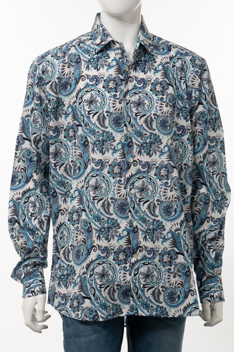 【6/1 0:00~6/3 9:59まで ポイント5倍】エトロ ETRO シャツ カッターシャツ ワイシャツ 長袖 メンズ U19 12908 ブルー 送料無料 楽ギフ_包装 10%OFFクーポンプレゼント