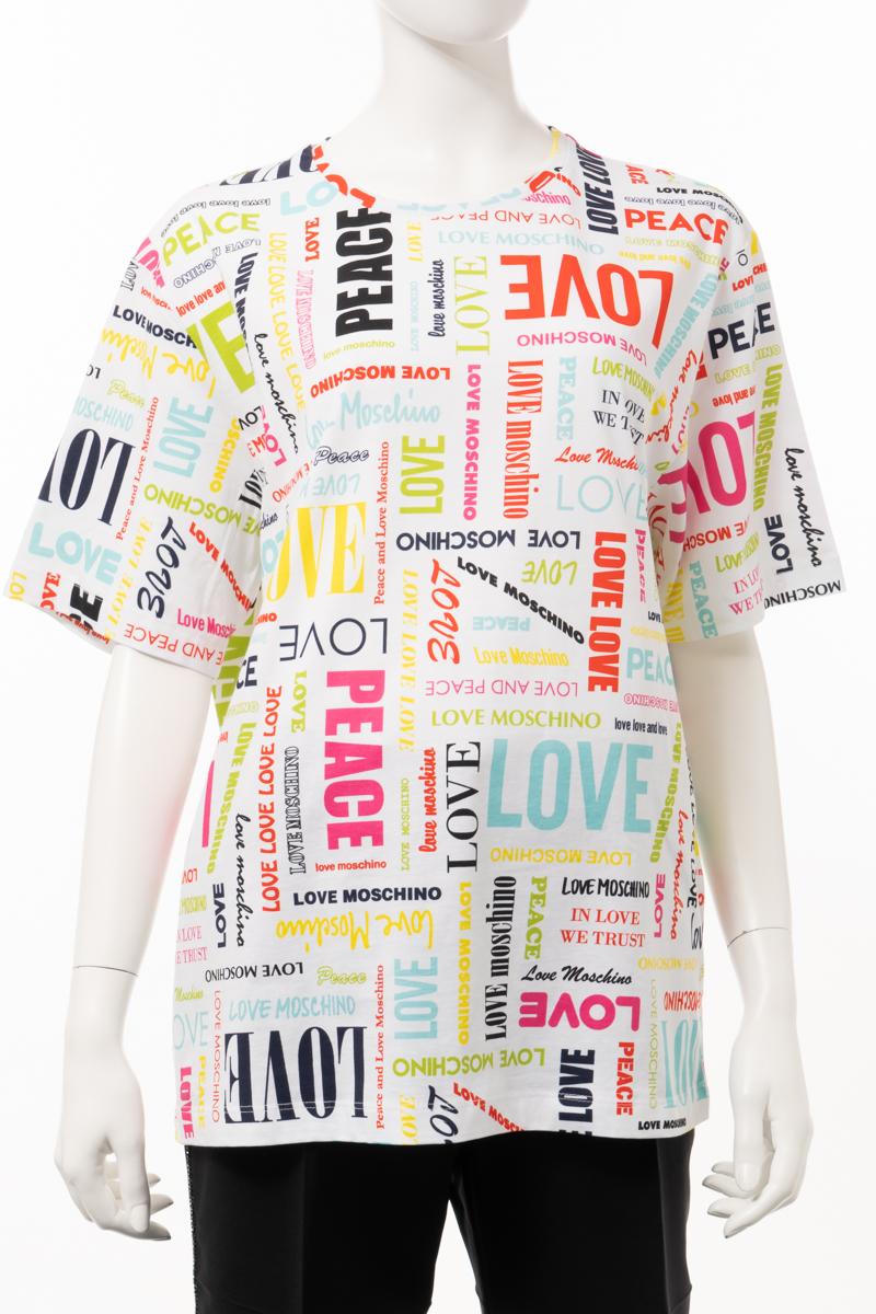 【スーパーSALE 全品10%OFFクーポン配布中】ラブモスキーノ LOVE MOSCHINO Tシャツ 半袖 丸首 クルーネック レディース W4F8700 M4051 ホワイト 送料無料 楽ギフ_包装 10%OFFクーポンプレゼント