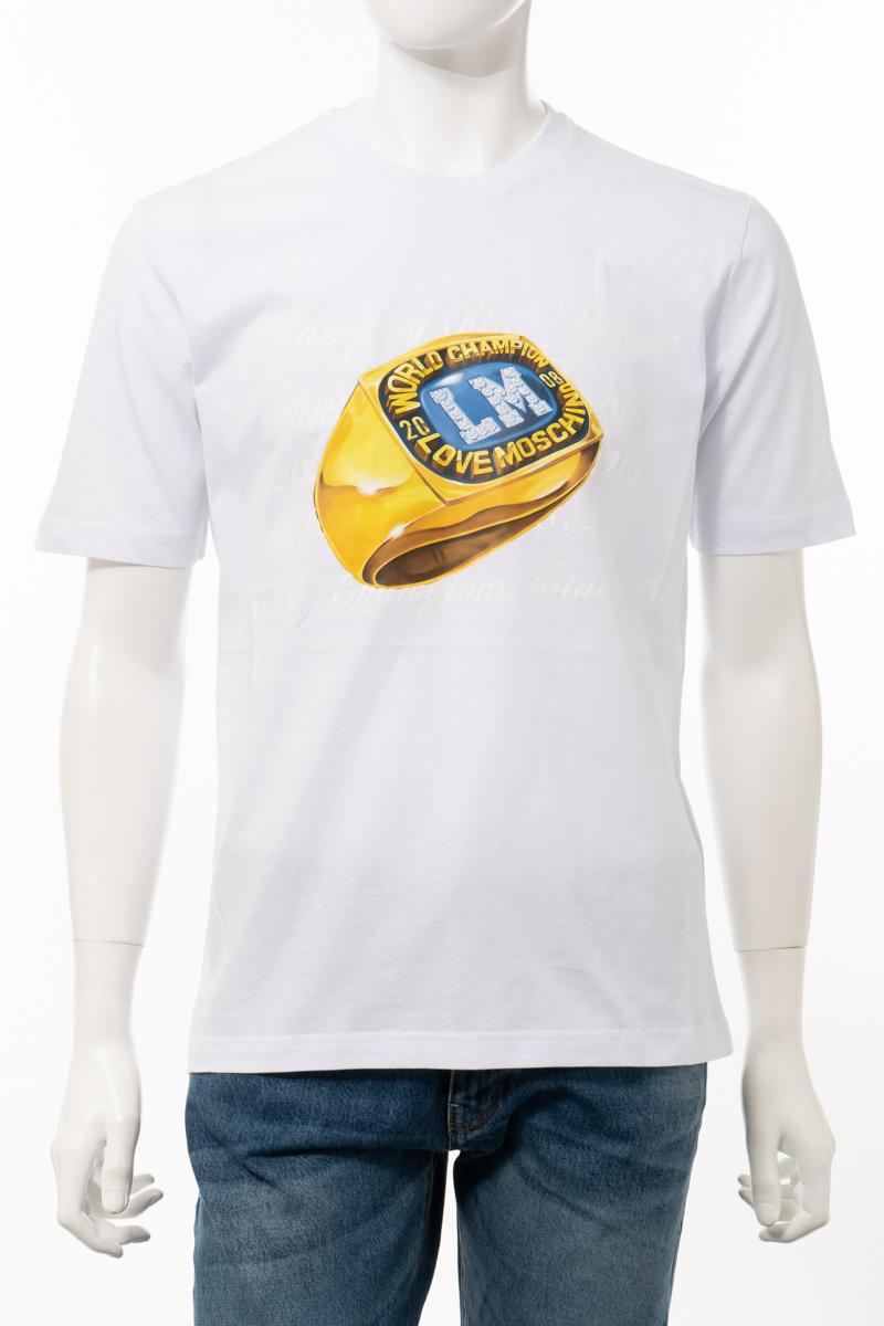 【6/1 0:00~6/3 9:59まで ポイント5倍】ラブモスキーノ LOVE MOSCHINO Tシャツ 半袖 丸首 クルーネック メンズ M47322W M3876 ホワイト 送料無料 楽ギフ_包装 10%OFFクーポンプレゼント