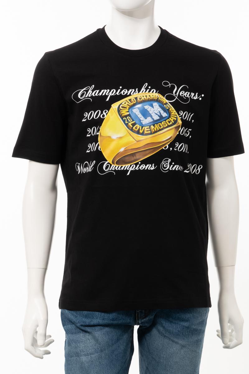 【全品10%OFFクーポン配布中!】ラブモスキーノ LOVE MOSCHINO Tシャツ 半袖 丸首 クルーネック メンズ M47322W M3876 ブラック 送料無料 楽ギフ_包装 10%OFFクーポンプレゼント