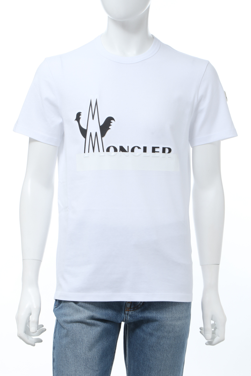 【全品10%OFFクーポン配布中!】モンクレール MONCLER Tシャツ 半袖 丸首 クルーネック メンズ 8C70910 8390T ホワイト 送料無料 楽ギフ_包装 10%OFFクーポンプレゼント