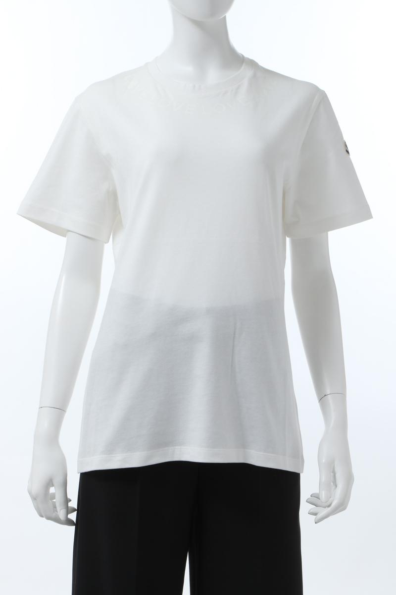 【スーパーSALE 全品10%OFFクーポン配布中】モンクレール MONCLER Tシャツ 半袖 丸首 クルーネック レディース 8C72410 V8094 アイボリー 送料無料 楽ギフ_包装 10%OFFクーポンプレゼント 2020年春夏新作