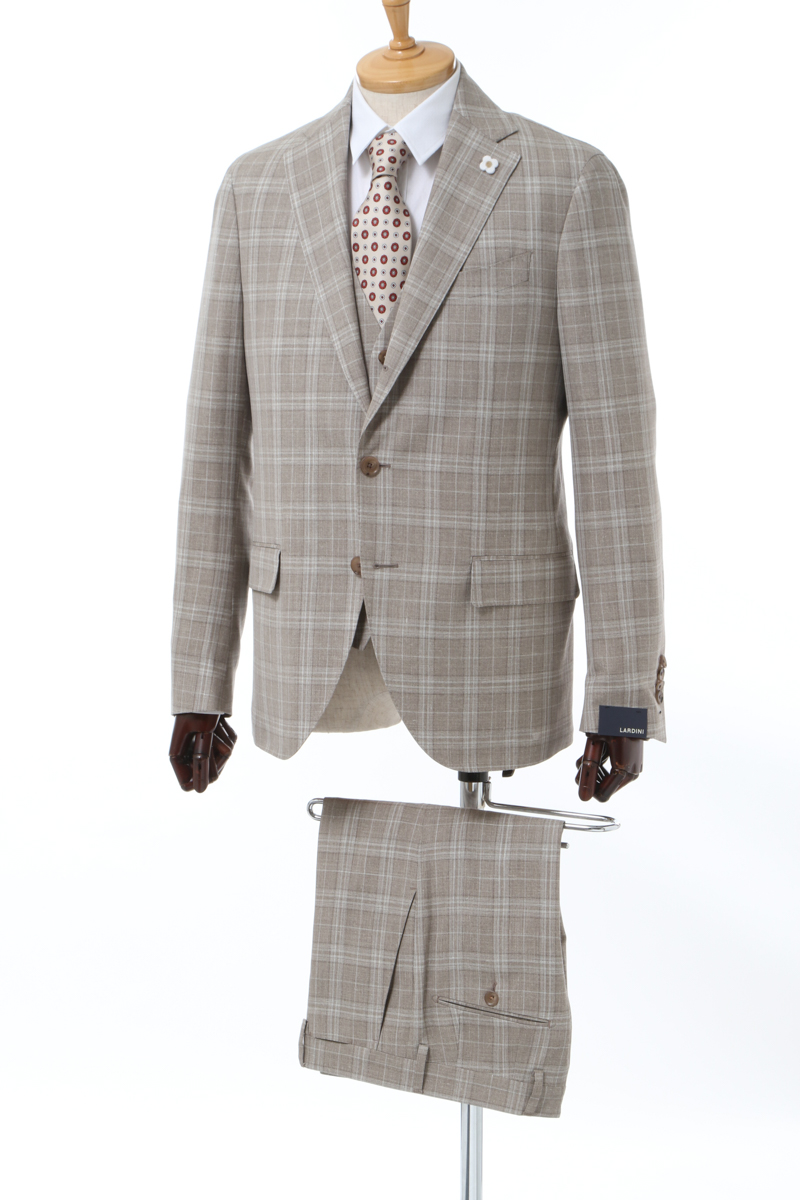 【6/1 0:00~6/3 9:59まで ポイント5倍】ラルディーニ LARDINI 3ピーススーツ シングル サイドベンツ ノッチドラペル 2つボタン ST 01 メンズ EI0807AV CL2080 ブラウン 送料無料 10%OFFクーポンプレゼント