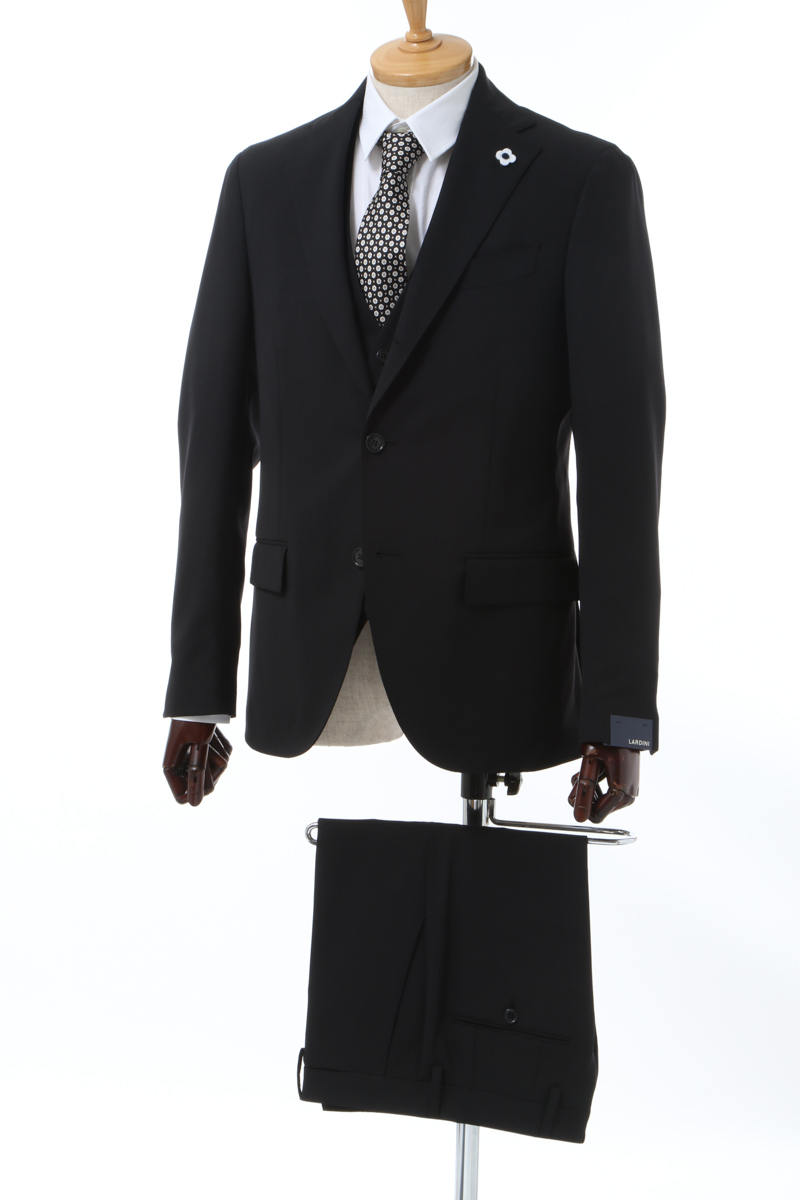 【全品10%OFFクーポン配布中!】ラルディーニ LARDINI 3ピーススーツ シングル サイドベンツ ノッチドラペル 2つボタン ST EI0807AV AABJ AN メンズ I0807AV ST9AABJ ブラック 送料無料 10%OFFクーポンプレゼント