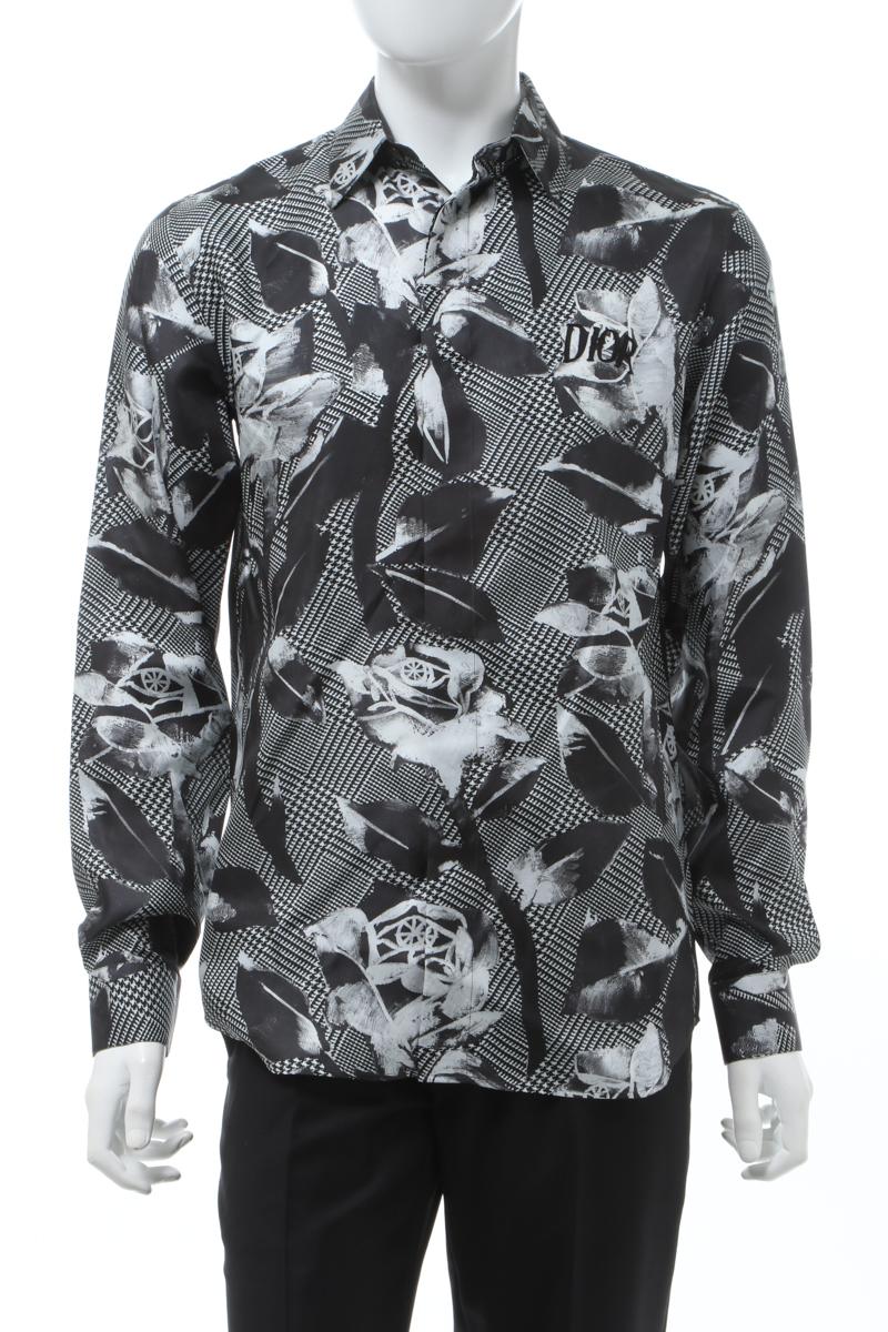 【6/1 0:00~6/3 9:59まで ポイント5倍】クリスチャンディオール Christian Dior シャツ カッターシャツ ワイシャツ 長袖 メンズ 013C501E4796 ブラック×ホワイト 送料無料 楽ギフ_包装 2020年春夏新作