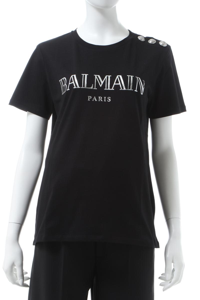 【スーパーSALE 全品10%OFFクーポン配布中】バルマン BALMAIN Tシャツ 半袖 丸首 クルーネック レディース TF11350 I366 ブラック 送料無料 楽ギフ_包装 2020年春夏新作 10%OFFクーポンプレゼント